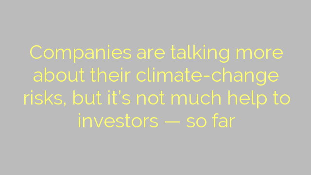 Companies are talking more about their climate-change risks, but it's not much help to investors — so far