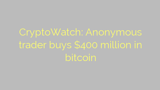 CryptoWatch: Anonymous trader buys $400 million in bitcoin