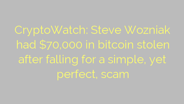CryptoWatch: Steve Wozniak had $70,000 in bitcoin stolen after falling for a simple, yet perfect, scam