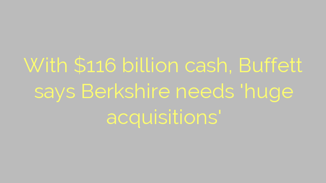 With $116 billion cash, Buffett says Berkshire needs 'huge acquisitions'