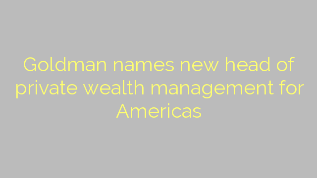 Goldman names new head of private wealth management for Americas