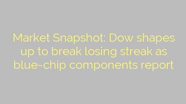 Market Snapshot: Dow shapes up to break losing streak as blue-chip components report