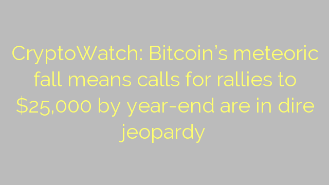 CryptoWatch: Bitcoin's meteoric fall means calls for rallies to $25,000 by year-end are in dire jeopardy