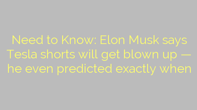 Need to Know: Elon Musk says Tesla shorts will get blown up — he even predicted exactly when