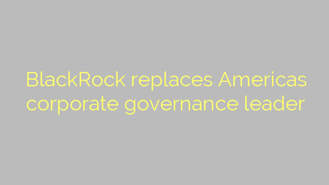 BlackRock replaces Americas corporate governance leader