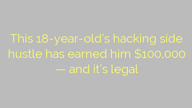This 18-year-old's hacking side hustle has earned him $100,000 — and it's legal