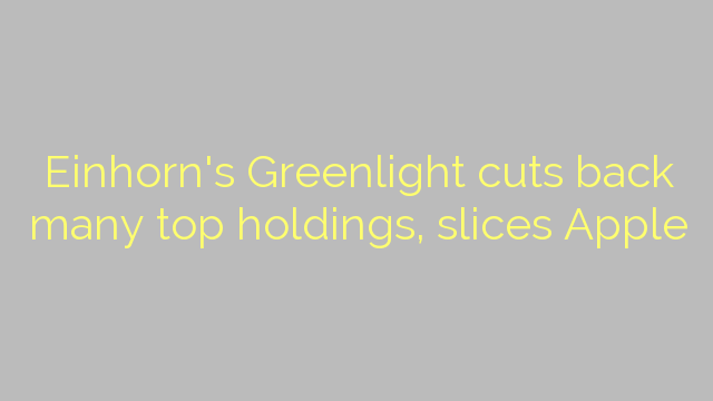 Einhorn's Greenlight cuts back many top holdings, slices Apple