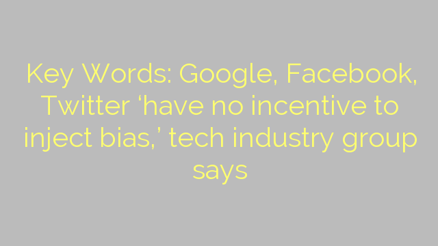 Key Words: Google, Facebook, Twitter 'have no incentive to inject bias,' tech industry group says