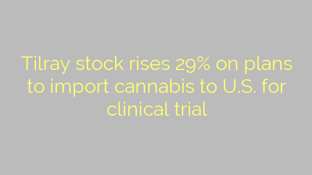 Tilray stock rises 29% on plans to import cannabis to U.S. for clinical trial