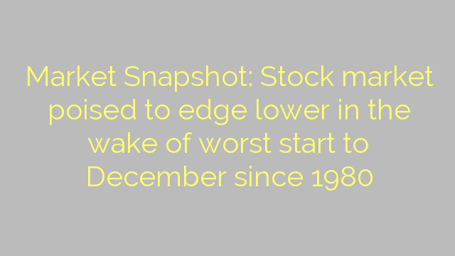 Market Snapshot: Stock market poised to edge lower in the wake of worst start to December since 1980