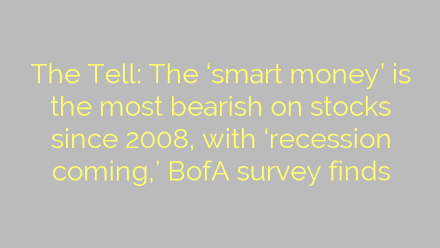 The Tell: The 'smart money' is the most bearish on stocks since 2008, with 'recession coming,' BofA survey finds