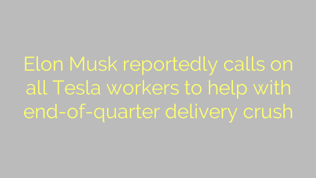Elon Musk reportedly calls on all Tesla workers to help with end-of-quarter delivery crush