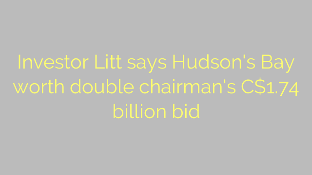 Investor Litt says Hudson's Bay worth double chairman's C$1.74 billion bid