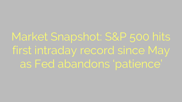 Market Snapshot: S&P 500 hits first intraday record since May as Fed abandons 'patience'