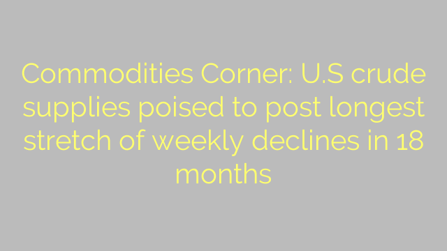 Commodities Corner: U.S crude supplies poised to post longest stretch of weekly declines in 18 months