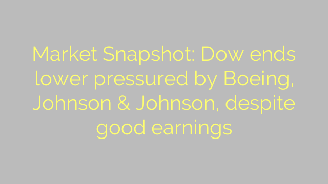 Market Snapshot: Dow ends lower pressured by Boeing, Johnson & Johnson, despite good earnings