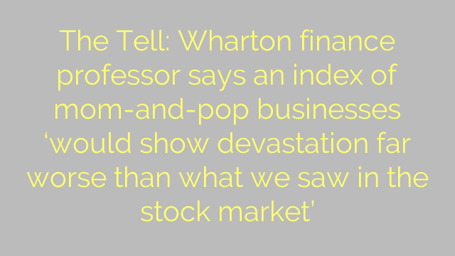 The Tell: Wharton finance professor says an index of mom-and-pop businesses 'would show devastation far worse than what we saw in the stock market'