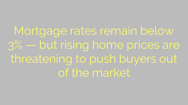 Mortgage rates remain below 3% — but rising home prices are threatening to push buyers out of the market